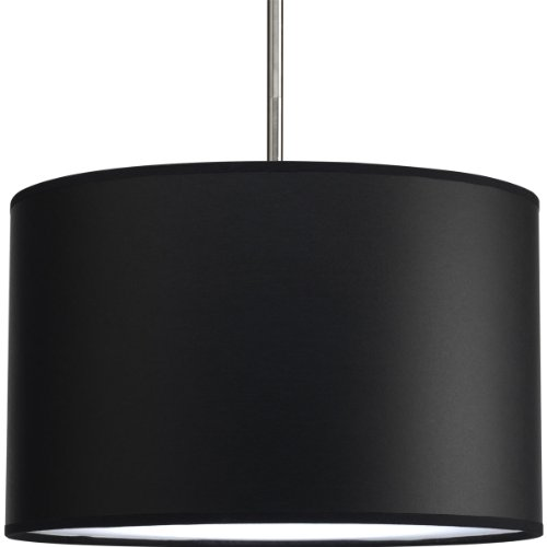 - Progress Lighting P8822-01 Modular Pendant System Choose Shade and 1-Light Stem (P5198) Or 3-Light Stem (P5199) to Make Complete Fixture 16-Inch Drum Shade, Black Parchment Paper