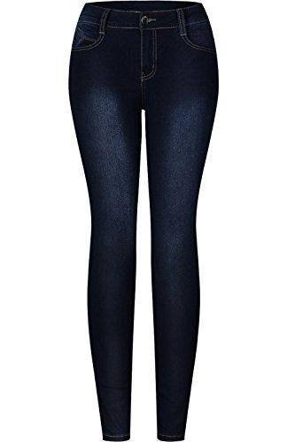2Luv Womens Stretchy 5 Pocket Solid Skinny Jeans  Medium Blue 13