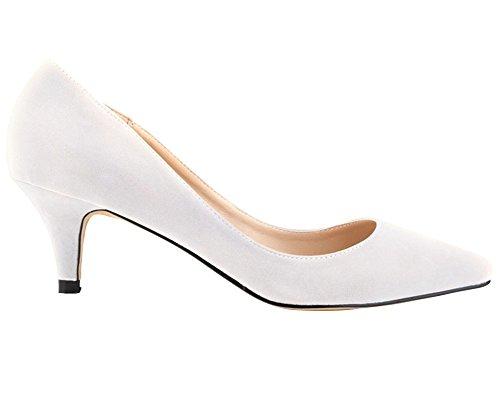 Classique Aiguille Mariage wealsex Femme Moyen Blanc Simple 6 Chaussure Pointu Couleur Talon de Talon Uni Bout Cm Soirée Suédé Escarpins IqwrvI6