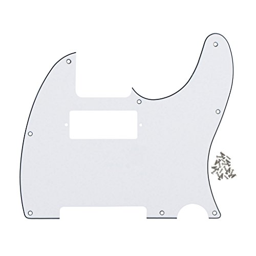 IKN Tele Style Guitar Pickguard Telecaster Style Scratch Plate w/Mini Humbucker White 3 Ply, with Pickguard Screws