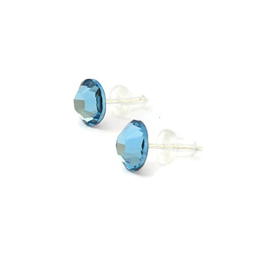 Aquamarine Blue Swarovski stud earrings  - March Blue Glass Shopping Results
