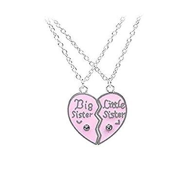 Spriessen 2 Pcs Ensemble Jolies Dames Collier Personnalise Grande Soeur Petite Soeur Amour Coeur Pendentif Bijoux Collier Pour Filles Femmes Cadeau