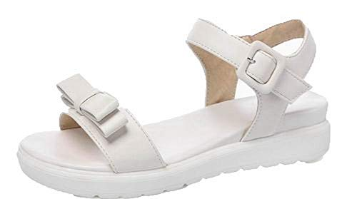 VogueZone009 Women Low-Heels Buckle Open-Toe Sandals,CCALP015577 White