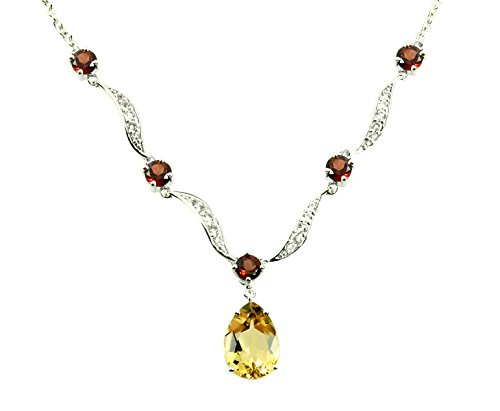 - Sterling Silver 925 Pendant Necklace GENUINE YELLOW QUARTZ 9 Cts with RHODIUM-PLATED Finish, 18