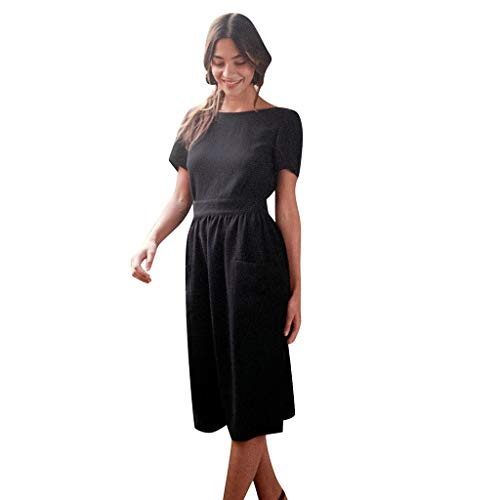 (t Shirt Dresses for Women,ONLY TOP Women's Short Sleeve Backless Swing Cocktail Dress with Pockets Knee Length Black )