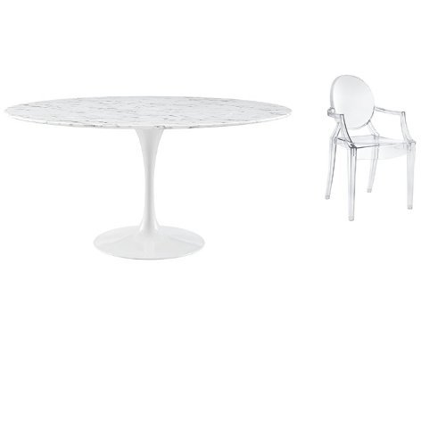 """Modway Lippa 60"""" Artificial Marble Dining Table in White wit"""
