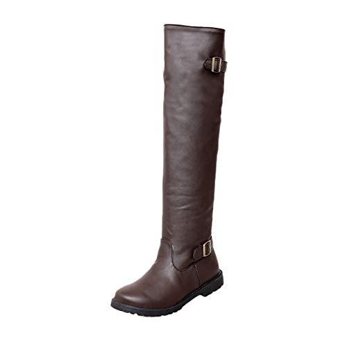 Fire And Safety Shoes, Leisure Women Shoes Solid Color Non Slip Round Toe Buckle Strap Pu Leather Long Tube Martin Boots, Winter Autumn Thick Leather Out About Boots Wome Brown 9.5