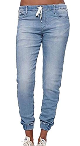 (Sweatwater Womens Jogger Stretchy Elastic Waist Sport Casual Washed Denim Pants Light Blue)