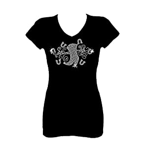 Rockeroo Boutique Cowgirl Boots Angel Wings Rhinestone Womens V Neck Short Sleeve Tee Shirt (L)