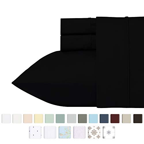 California Design Den 400 Thread Count 100% Cotton Sheet Set, Black Queen Sheet Sets 4 Piece, Long-Staple Combed Pure Natural Cotton Bedsheets for Bed, Soft & Best Quality Sateen Weave Sheets Set