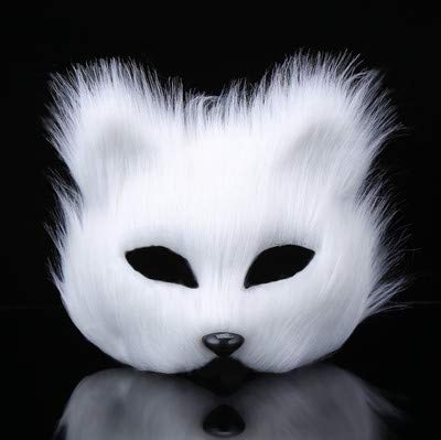 Mydio Halloween Costume Party Arctic Fox Half Face Veil Eye Mask
