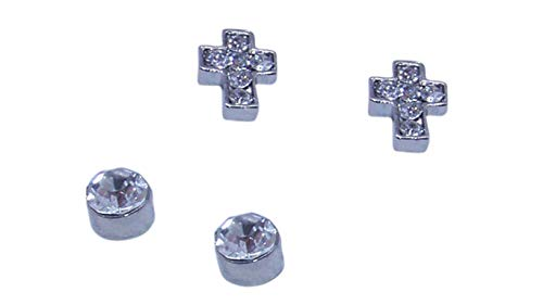 Cross Magnetic Crystal - Cross and Round Clear Crystal Stainless Steel Magnetic Stud Earrings - No Piercing (Four Studs)