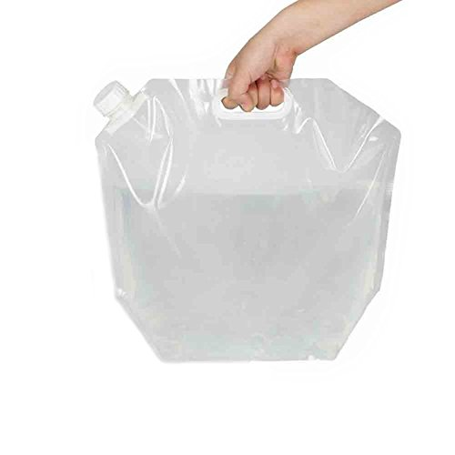 20L/(2x10L)5 Gallon Capacity Foldable Portable Water Carrier Bag Food Grade PVC Outdoor Collapsible Transparent Drinking Water Bag Car Water Carrier Container for Camping/Climbing/Picnic/Survival
