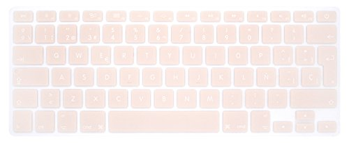 HRH Spanish Silicone Keyboard Cover Skin for MacBook Air 13,MacBook Pro 13/15/17 (with or w/Out Retina Display, 2015 or Older Version)&Older iMac EU Layout Keyboard Protector-Quartz Pink