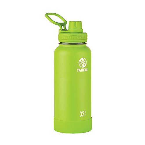 Lime Green Bottle - Takeya Actives Insulated Stainless Water Bottle with Insulated Spout Lid, 32oz, Lime
