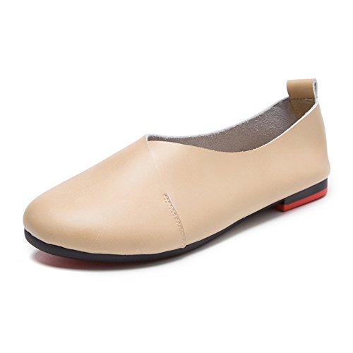 Women's Genuine Leather Comfort Glove Shoes Ballet Flat Shoes Beige 37 - US 6.5