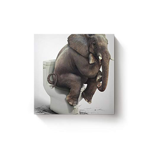 EZON-CH Square Canvas Wall Art Oil Painting Christmas Office Home Decor,Funny Elephant Sitting on The Toilet Animal Pattern Artworks,Stretched by Wooden Frame,Ready to Hang,12 x 12 Inch