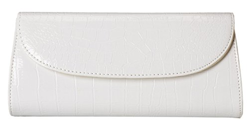ILISHOP On Sale Women's Envelope Clutch Patent Croc Skin Party Clutch Fashion Shoulder Bags For Lady (White Patent Bag)