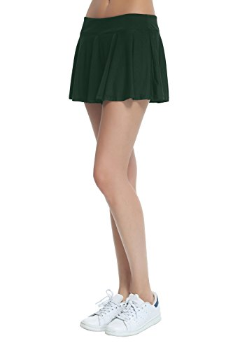 Women's Fitness Pleated Skirts Active Running Tennis Golf Lightweight Skorts With Built-In Shorts size Small (Dark Green) Green Pleated Shorts