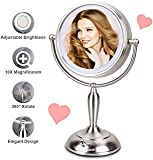 Lighted Makeup Mirror, 7.5 Inch LED Vanity Mirror with Magnification, Dimmable LED Soft Light, Double-Sided Makeup Mirror with 1x/10x Magnification and lights, AC Adapter or Battery Operated
