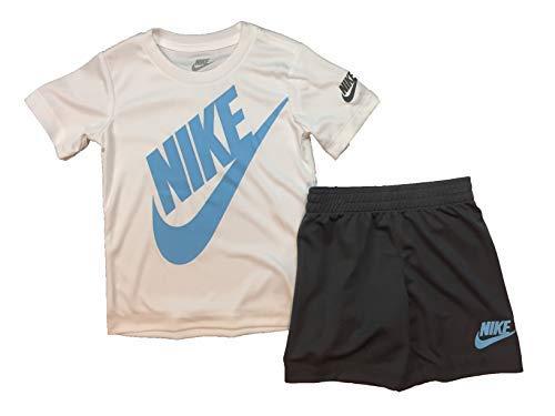 Nike Boy`s Dri-Fit T-Shirt & Shorts 2 Piece Set (White(76F024-G1A)/Blue/Grey, 7)