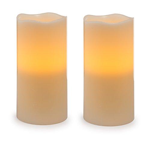 Orange Vanilla Pillar - Darice Battery Operated LED Wax Pillar Candle Set, 8