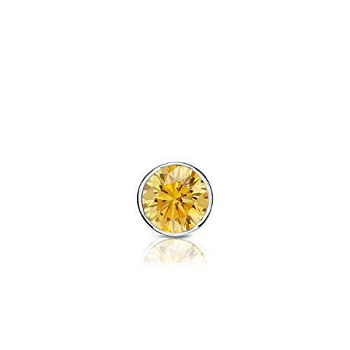 14k White Gold Bezel-set Round Yellow Diamond Men SINGLE STUD Earring (1/8ct, Yellow,I1-I2)