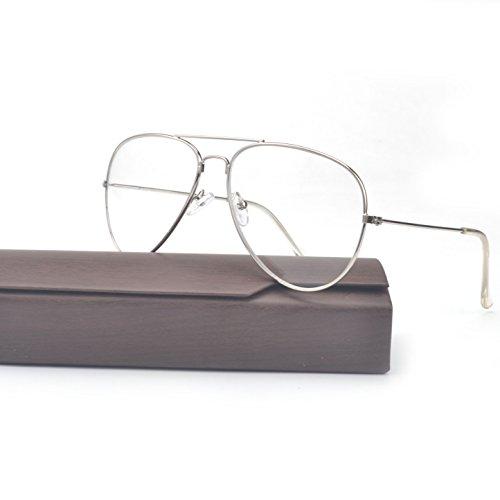 MINCL/Oversized Glasses Metal Frame unisex Clear Lens 60mm -