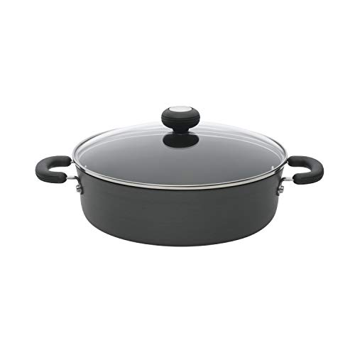 Circulon Hard-Anodized Nonstick 4-Quart Covered Casserole, Black