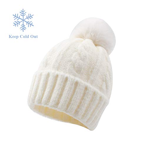 XIAOHAWANG Baby Boys Girls Hats Faux Fur Pom Pom Toddler Winter Beanies Warm Kids Knit Lovely Caps Infant Christmas (1-5Years, White 3)