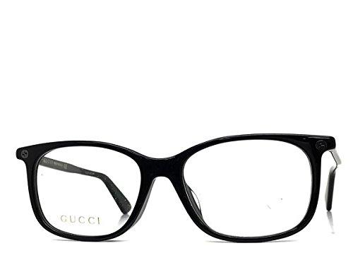 Gucci GG 0157O 001 Black Plastic Square Eyeglasses - Titanium Frames Gucci Eyeglasses
