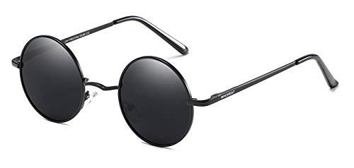 primavera para 400 Unisex UV marco disponible Negro WHCREAT Redondas Polarizado de sol mujeres bisagra Protección Retro Negro mural de de espejo de Gafas hombres lente qwZa5Cxv