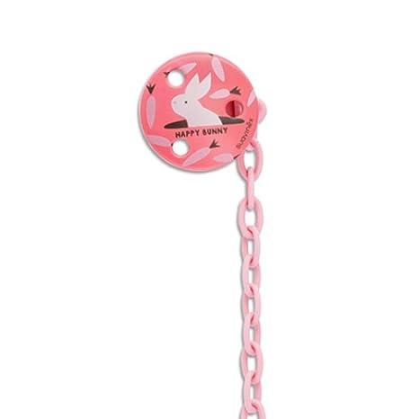 Suavinex Happy Bunny - Sujeta chupetes redondo y rosa ...