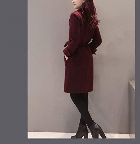 Suelto Lana Vino Lana Chaqueta Con Abrigo Femenina De Rojo Traje Delgado Cintura Sección Nzdy Cordón Larga Abrigo vqUCf