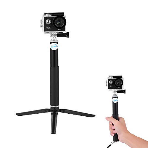iGANK Selfie Stick Extendable Monopod Pole Hand Grip with Mini Tripod Mount Stand for Gopro Hero 6, Gopro Hero(2018), Hero 5 4, Session, AKASO, Xiaomi Yi Action Cameras and Compact Cameras, ST301