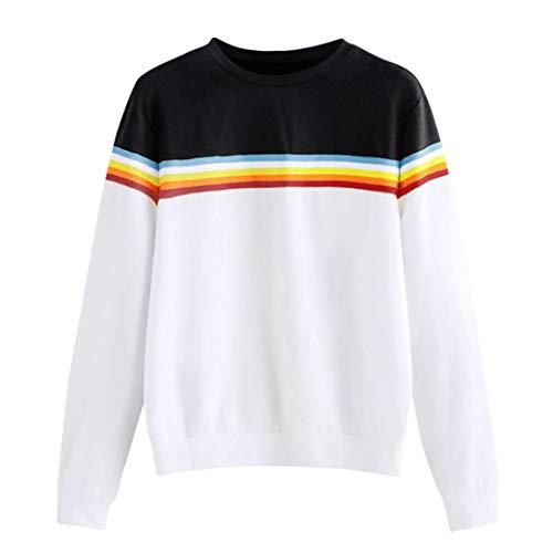 Orangeskycn Women Sweater Solid Color Ribbon Rainbow Long Sleeve Sweatshirt
