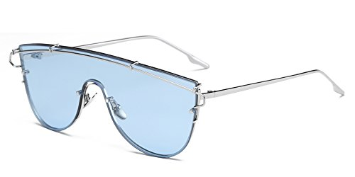 Cramilo Fashionable Futuristic Colored Flat Lens Top bar Oversize Round - One Lense Sunglasses