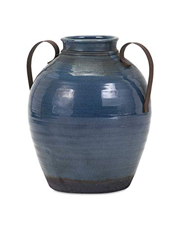 IMAX 13611 Harrisburg Small Vase with Metal Handle, Blue ()