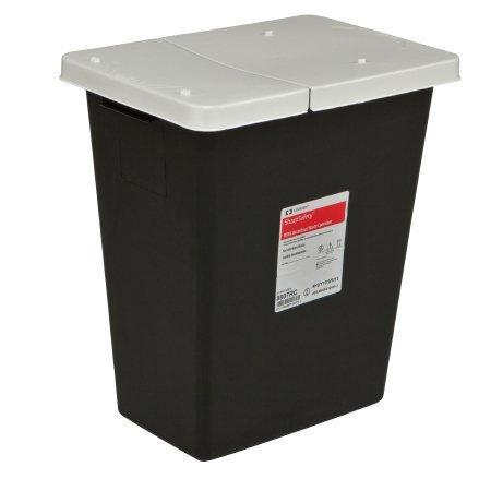 Covidien 8607RC SharpSafety RCRA Hazardous Waste Container Hinged Lid, 8 gal Capacity, Black (Pack of 10)