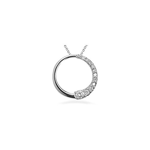 0.20-0.25 Cts SI2 - I1 clarity and I-J color Diamond Circle Journey Pendant in 14K White Gold