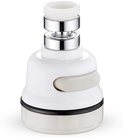 Kitchen Faucet Sprayer Head - 360° Rotatable Anti-Splash Faucet Sprayer Replacement By BQZONE - Easy Installation - 3 Mode Sink Nozzle Attachment - High Pressure Booster Water Saving For Every Usage