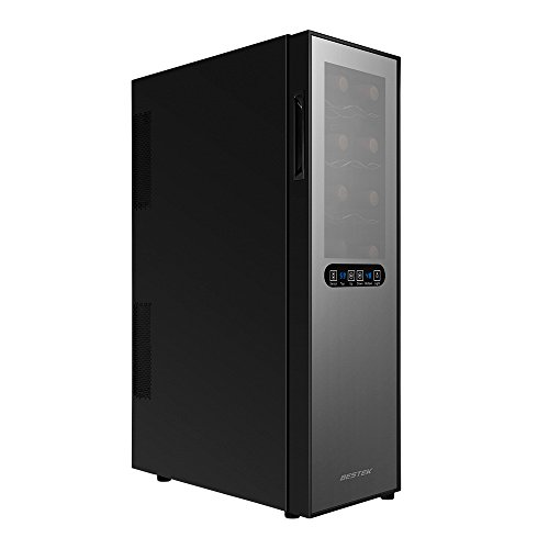 BESTEK 16 Bottle Dual Zone Thermoelectric Red & White Wine Cooler/Chiller, Counter Top Wine Cellar w/Sculpted Chrome Shelves, Double-Layer Tempered Glass Door, Quiet Operation Fridge (ETL Listed) by BESTEK