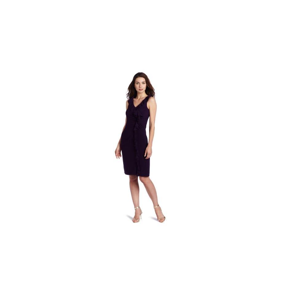 Jessica Howard Womens V Neck Side Ruffle Dress