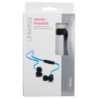 T-Mobile Stereo Headset TANGLE FREE CORD 3.5mm with Mic Original TMobile - FLAT CABLE HEADPHONES - BLUE & BLACK EARBUDS (T-mobile Earbud Headset)