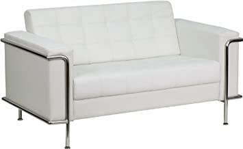 Flash Furniture HERCULES Lesley Series Contemporary Melrose White Leather Loveseat with Encasing Frame