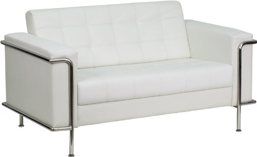 (Flash Furniture HERCULES Lesley Series Contemporary Melrose White Leather Loveseat with Encasing Frame)