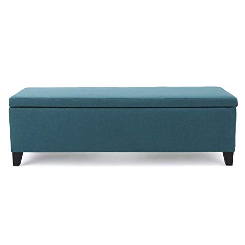 Christopher Knight Home Living Clor Teal Fabric Storage Ottoman, Dark