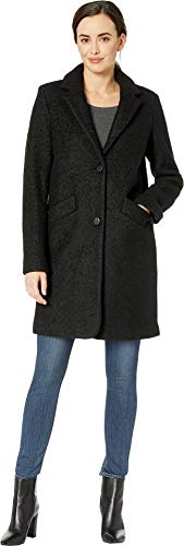 Marc New York by Andrew Marc Women's Paige Pressed Boucle Two-Button Notch Collar Black 10 -