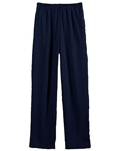 UltraSofts Elastic-Waist Interlock Pull-On Pants, Navy, (Pull On Knit Pants)
