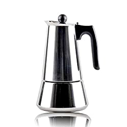 [UPGRADED]Coffee Stovetop Espresso Maker, Stainless Steel Stovetop Moka Coffee Pot for Gas or Electric Stove Top Moka Pot (6 Cup)